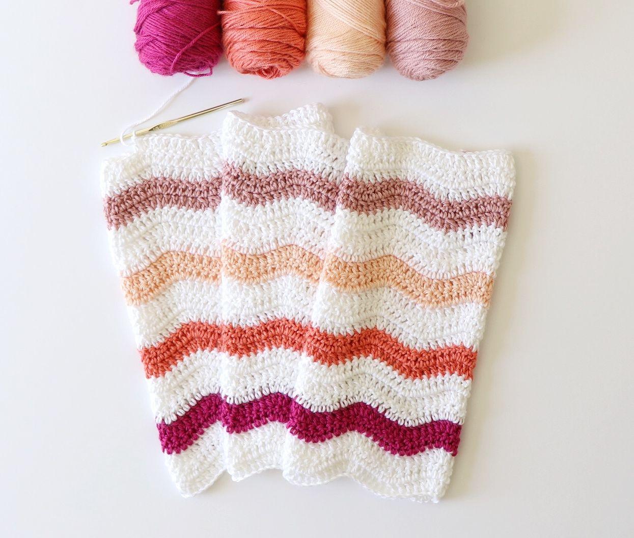 Crochet Jewel Tones Ripple Blanket | Lapghan | Pinterest