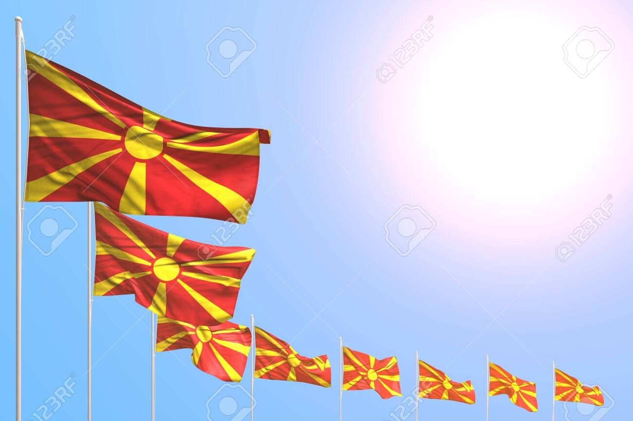 Cute Holiday Flag 3d Illustration Many Macedonia Flags Placed Diagonal On Blue Sky With Place For Content Stock Photo Holiday Flag Art Logo Macedonia Flag