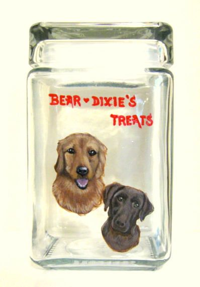 Golden Retriever Chocolate Lab Dog Treat Jar Custom Canister
