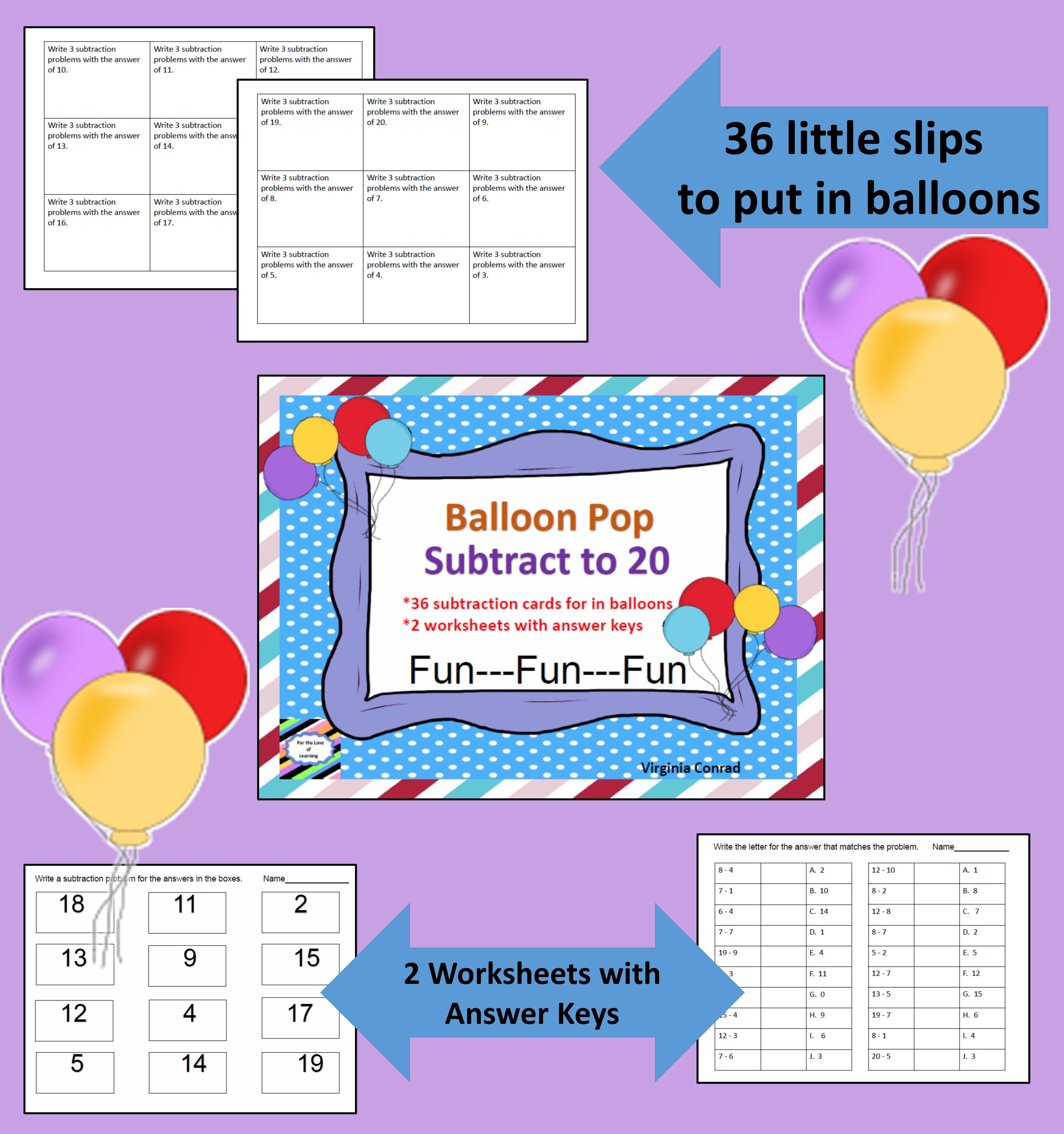 Subtracting To 20 Balloon Pop