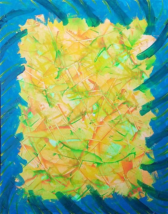 Orange, Yellow, Green and Blue Original Acrylic Abstract Painting on ...