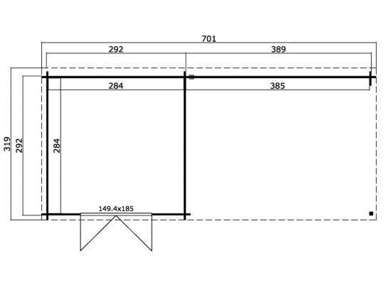 Gartenhaus ONTARIO 312x701 cm; 40 mm Doppelnut; ohne Boden