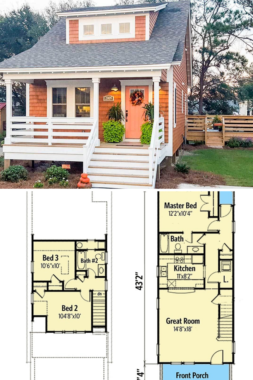 Two Story 3 Bedroom Bungalow Home Floor Plan Small Cottage House Plans House Plans Farmhouse Narrow House Plans