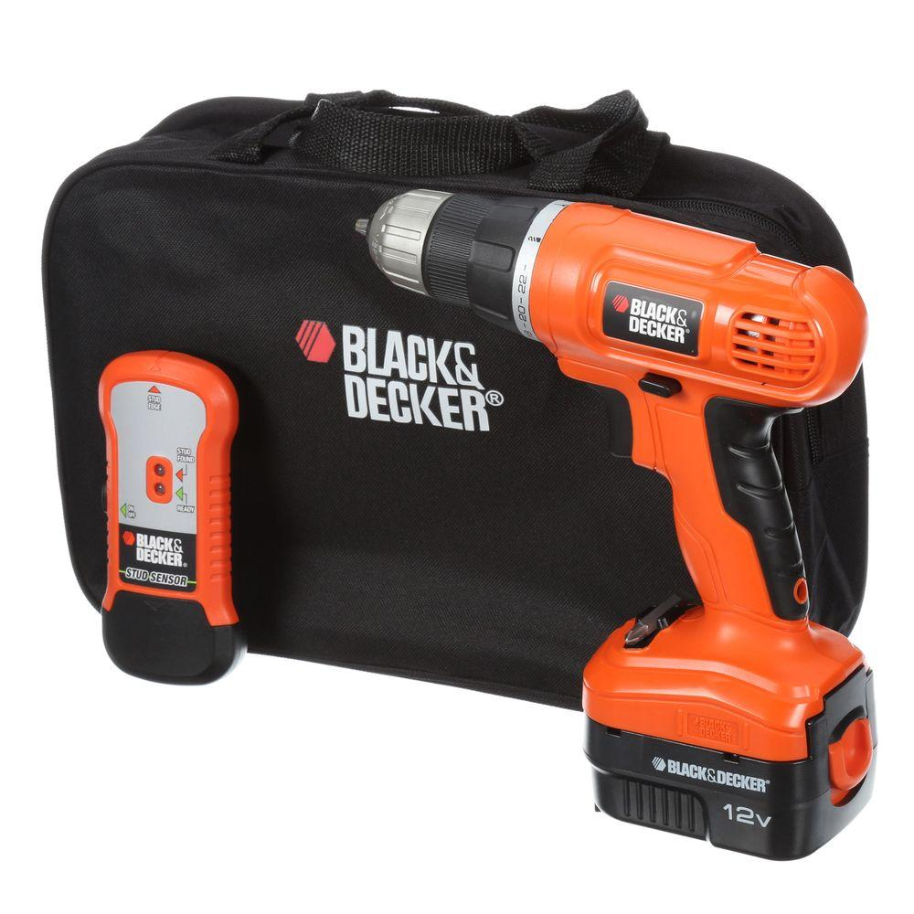Black Decker 12 Volt Nicd Cordless Drill With Stud Sensor And Storage Bag With Battery 1 5ah Charger And Kit Bag Cordless Drill Cordless Drill Reviews Drill Set