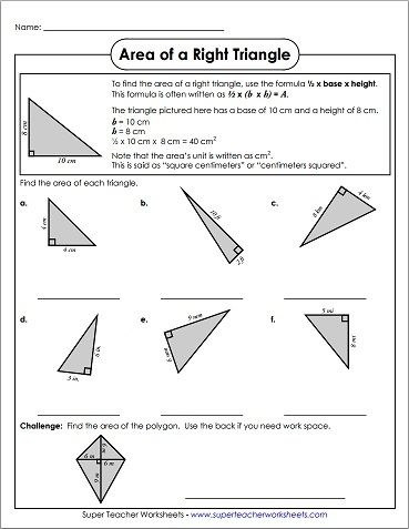 We Have Great Worksheets For Calculating The Area Of Triangles