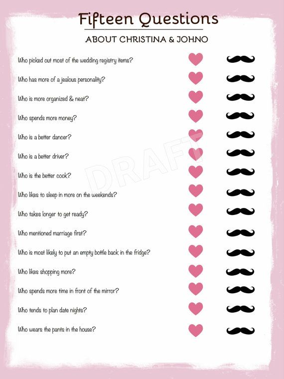 Bride Groom Trivia Wedding Shower Bachelorette Party 15 Questions