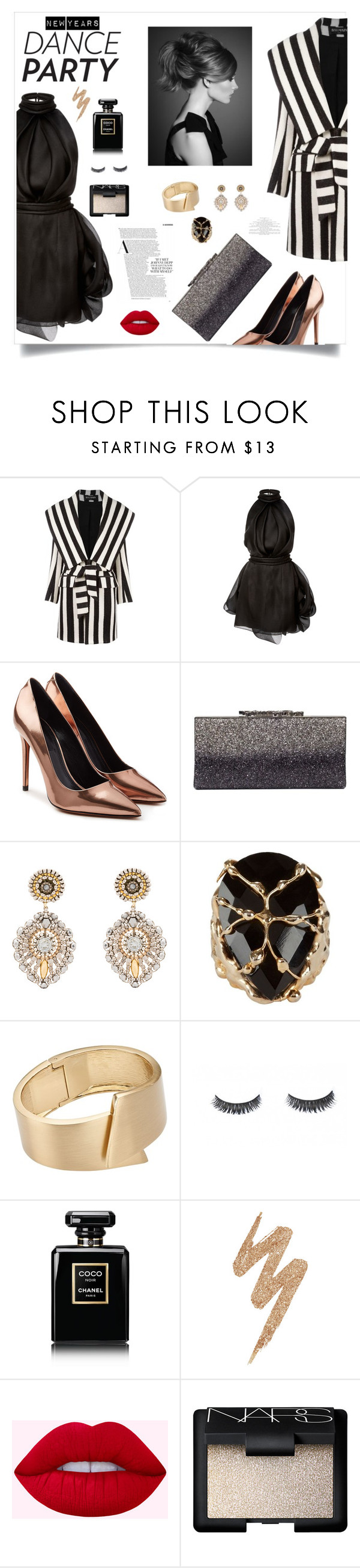 """New Years Dance Party"" by jafashions ❤ liked on Polyvore featuring Balmain, Brandon Maxwell, Alexander Wang, Jimmy Choo, Miguel Ases, Rosantica, John Lewis, Chanel, Urban Decay and NARS Cosmetics"