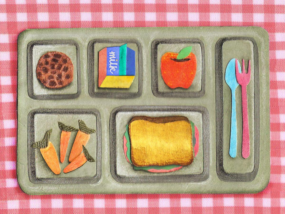 009 illustration school food tray plaid collage