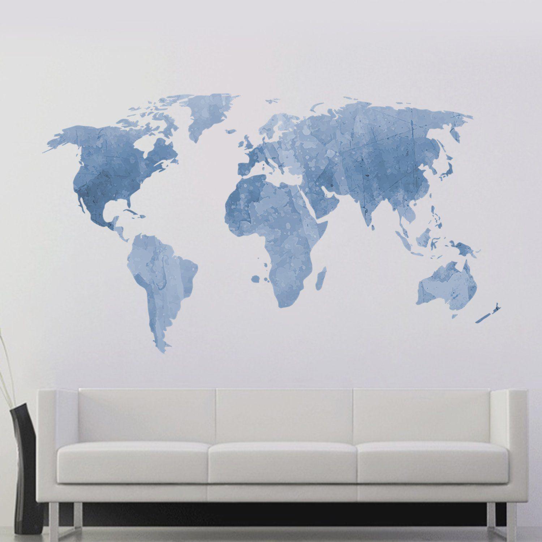 DecalMile Adesivo Murale Mappa Mondo Moderno Removibile Vinile ...