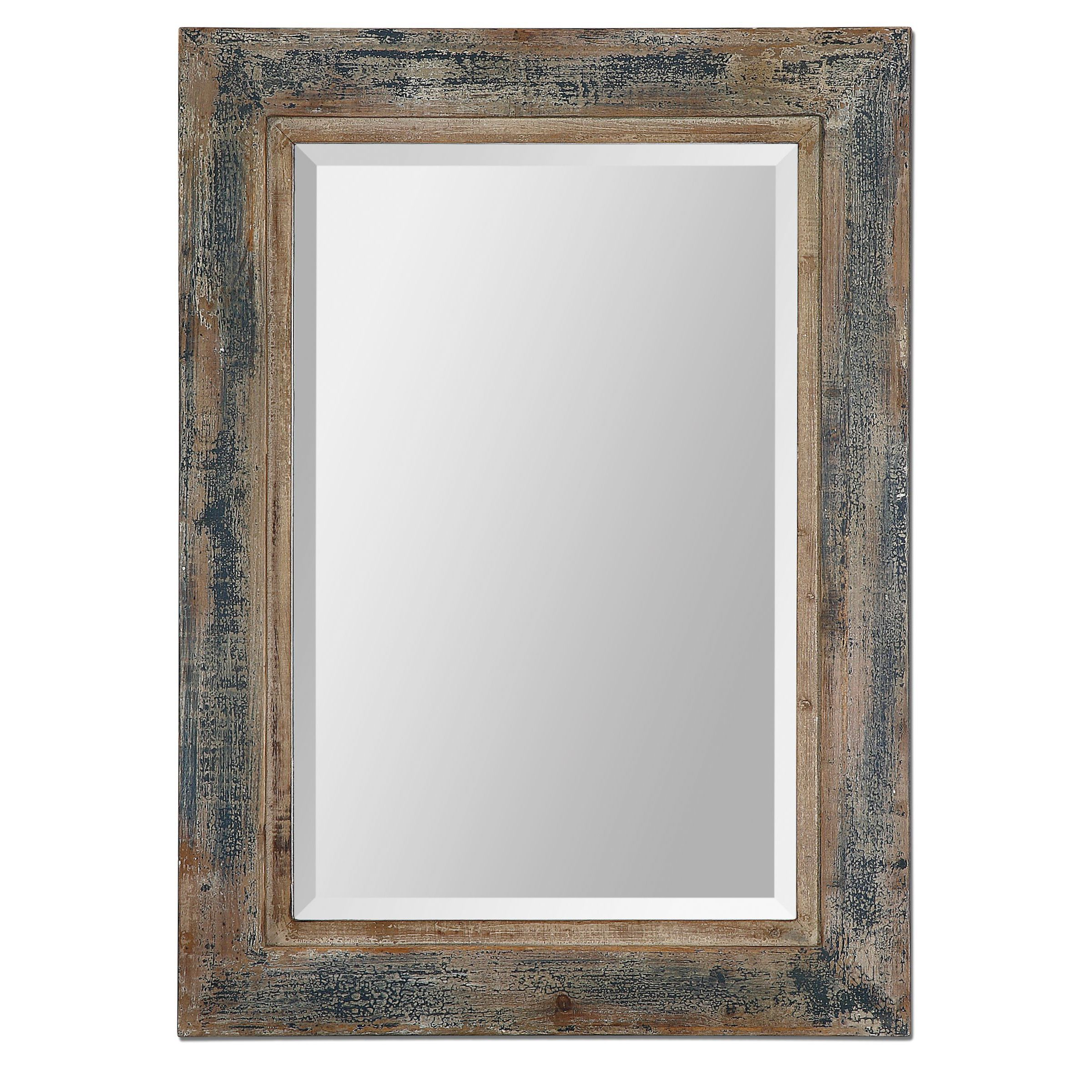 Decorative Mirror This Blue Decorative Mirror Showcases A Wood Frame Border With A