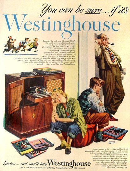 Westinghouse Radio Phonograph Abc Network Vintage Ads Retro