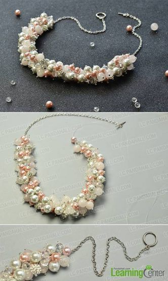 3cb2667c2353 How to Make a Pearl Bridal Cluster Necklace