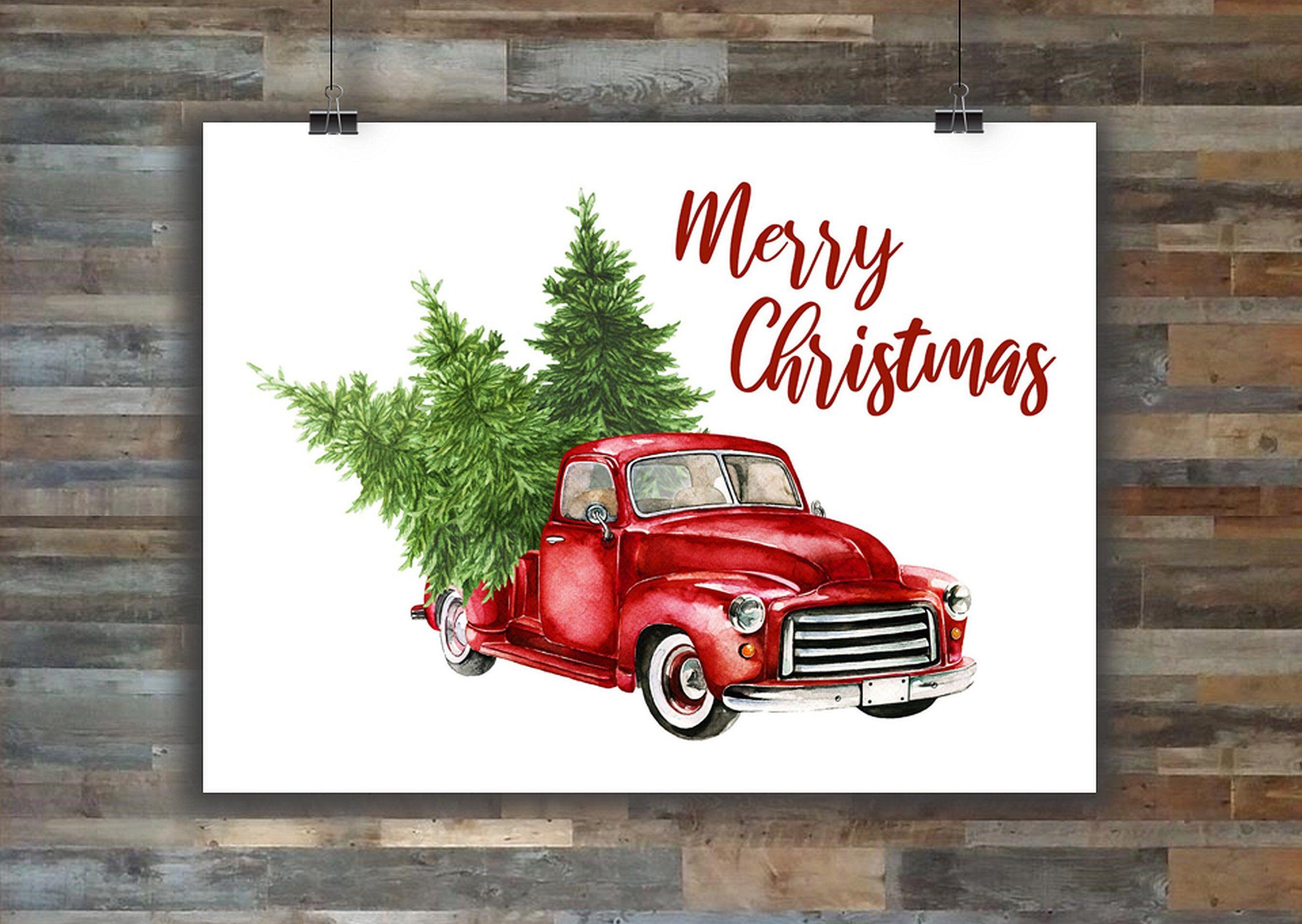 Sale Red Truck Print Printable Art Christmas Wall Art Decor Etsy Christmas Wall Art Printable Art Trucks Print