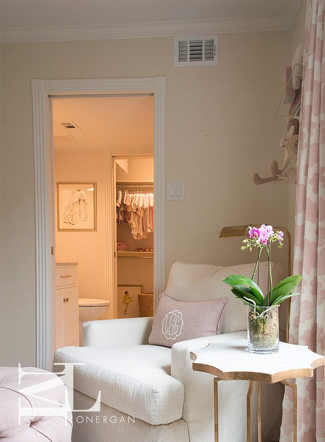 Best Baby Girl S Nursery Features Corner Nursing Area Boasting An Ivory Chair Adorned With A Blush 400 x 300