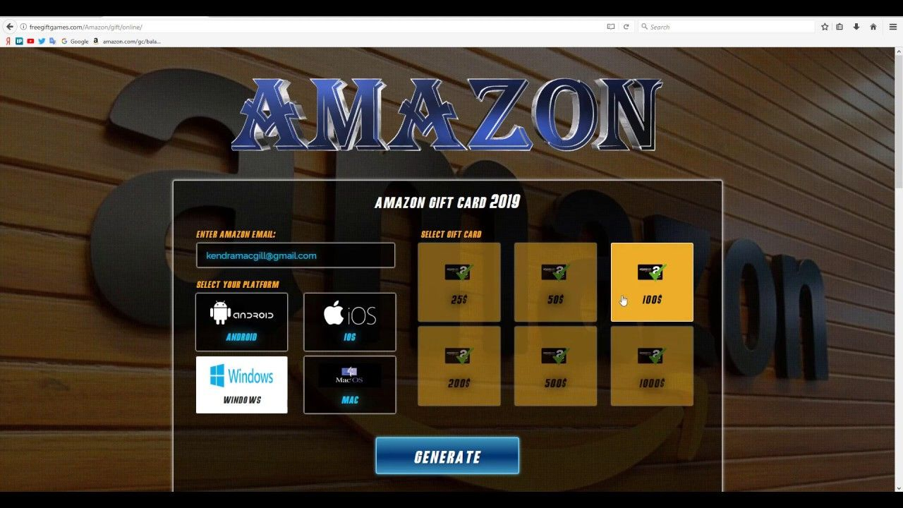 Free amazon gift card free code generator 100