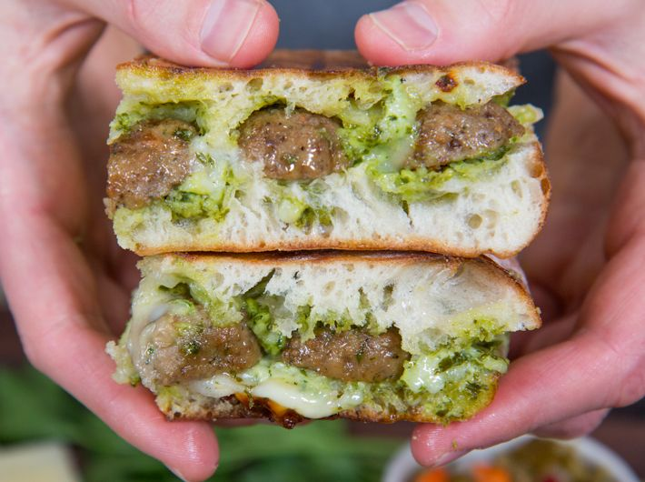 Meatball & Pesto Panini with FarmRich Italian Meatballs. Perfect for game day! #HalftimeHero