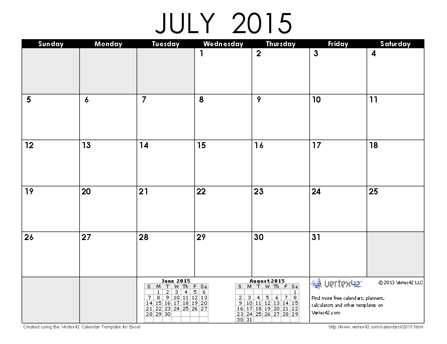 Free Calendar Template July 2015 Idealstalist