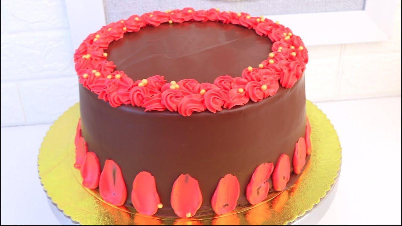 تغليف بالنوتيلا مع طريقة الكريمة باللون الاحمر Cake Desserts Birthday Cake