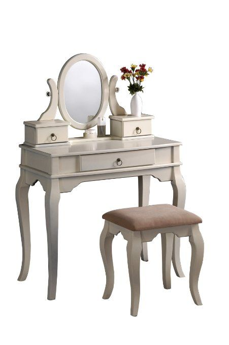 Amazon.com - Bobkona Rylan Vanity Set with Stool, Antique White - Makeup  Table - Amazon.com - Bobkona Rylan Vanity Set With Stool, Antique White