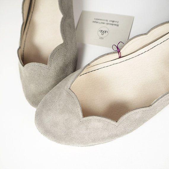 Gray Soft Suede Scalloped Handmade Ballet Flats by elehandmade, $109.00