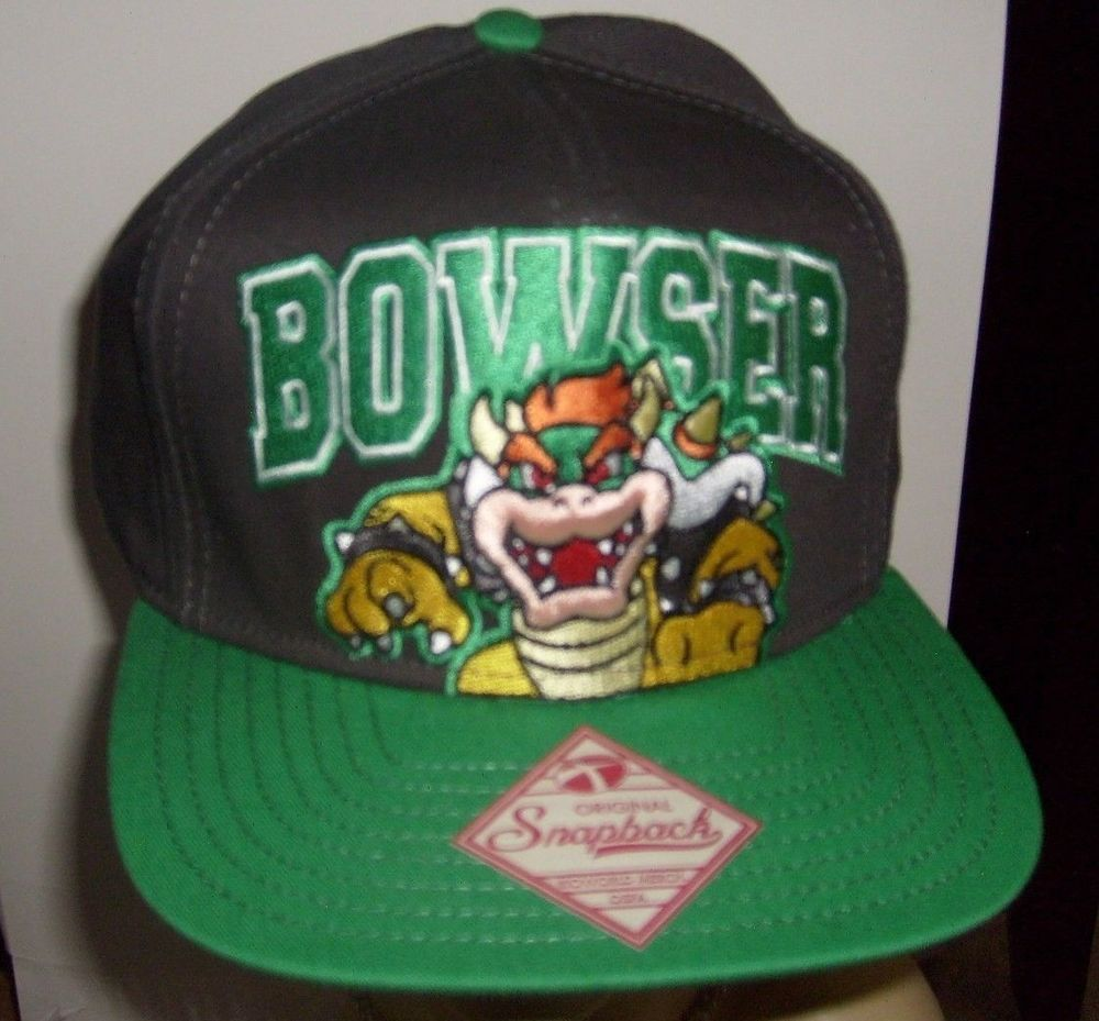 f71dd32f SUPER MARIO BOWSER ORIGINAL SNAPBACK FLAT BILL HAT BLACK GREEN CAP  SPENCER'S NEW #SPENCERS #BaseballCap