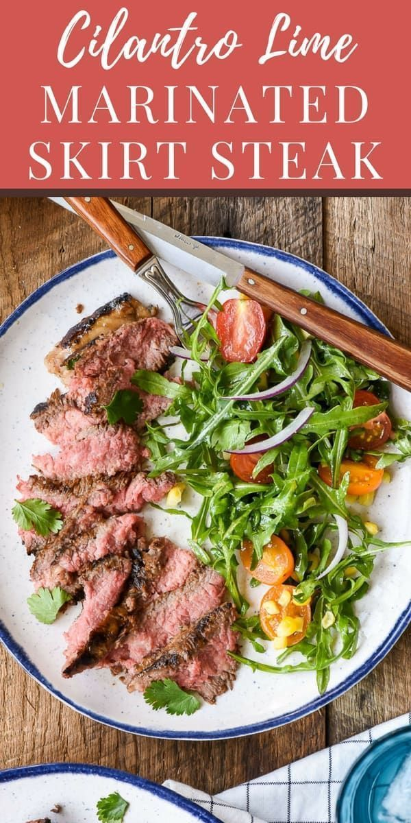 Skirt steak soaks up a flavorful citrus marinade for a juicy, tender steak bursting with flavor. Serve with a simple arugula salad for a great summer meal! #marinadeforskirtsteak