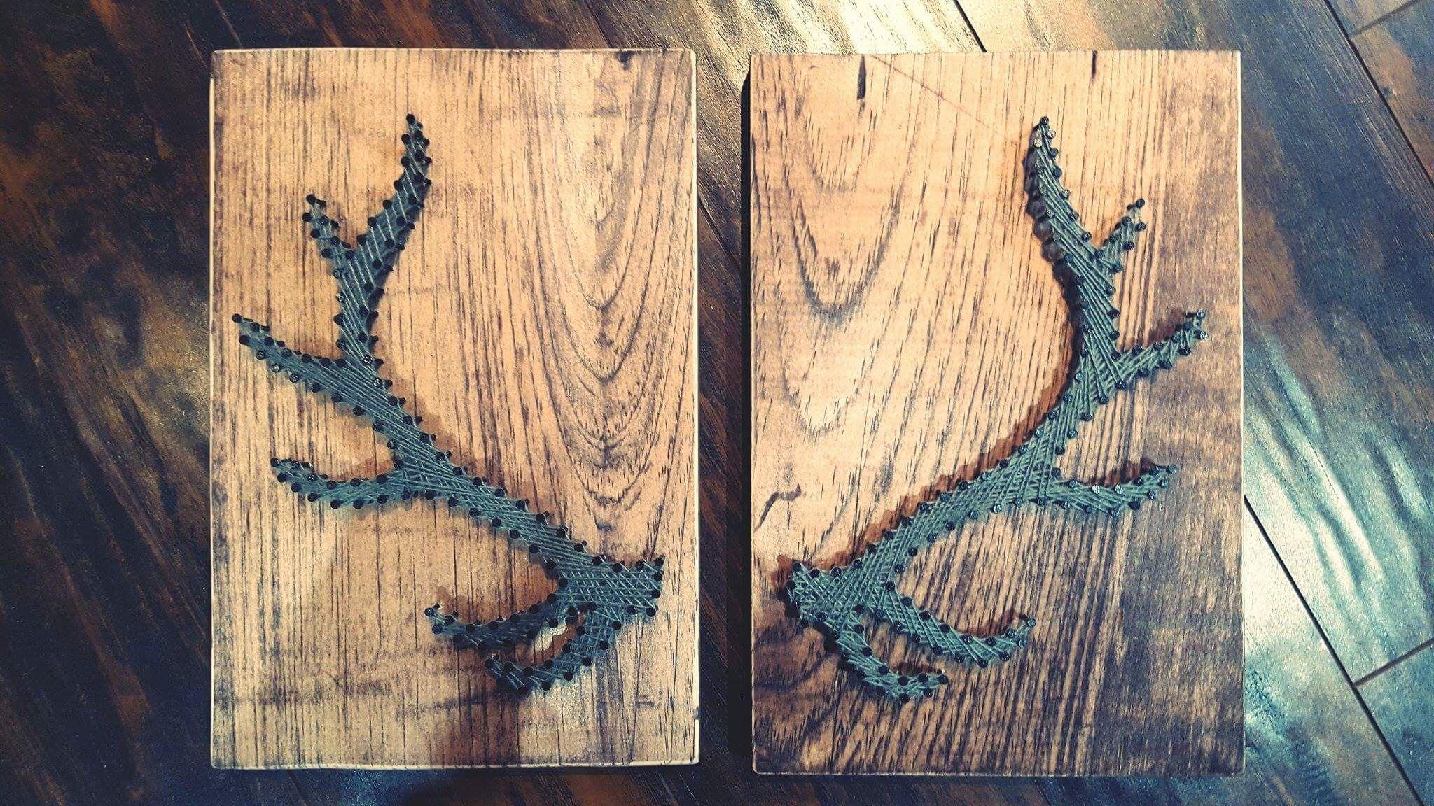 String Art- nails, stained wood, antlers, elk, handmade, yarn, wall art Made By: Jennifer MacLeod Schutt