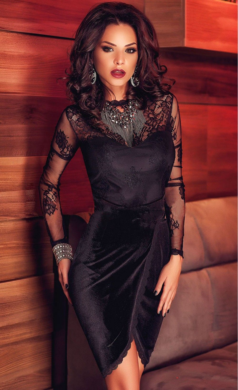 Premium lace velvet long sleeve wrap dress claudia stoica