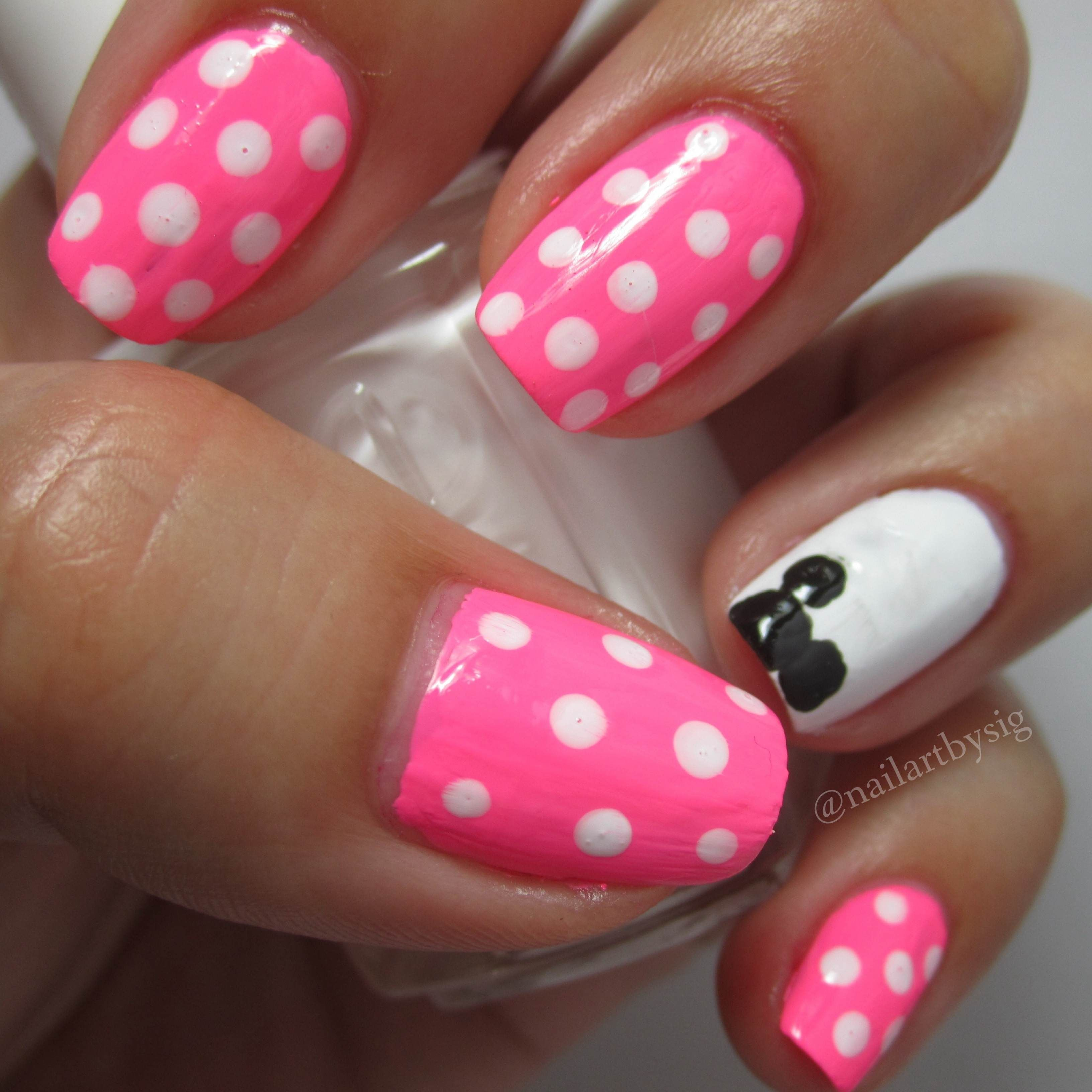Minnie Mouse Inspired Nail Art Tutorial | By Sig | Disney World ...