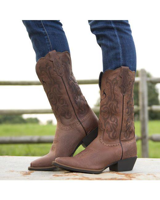 Justin Women S Dark Brown Mustang Cowhide Cowboy Boot