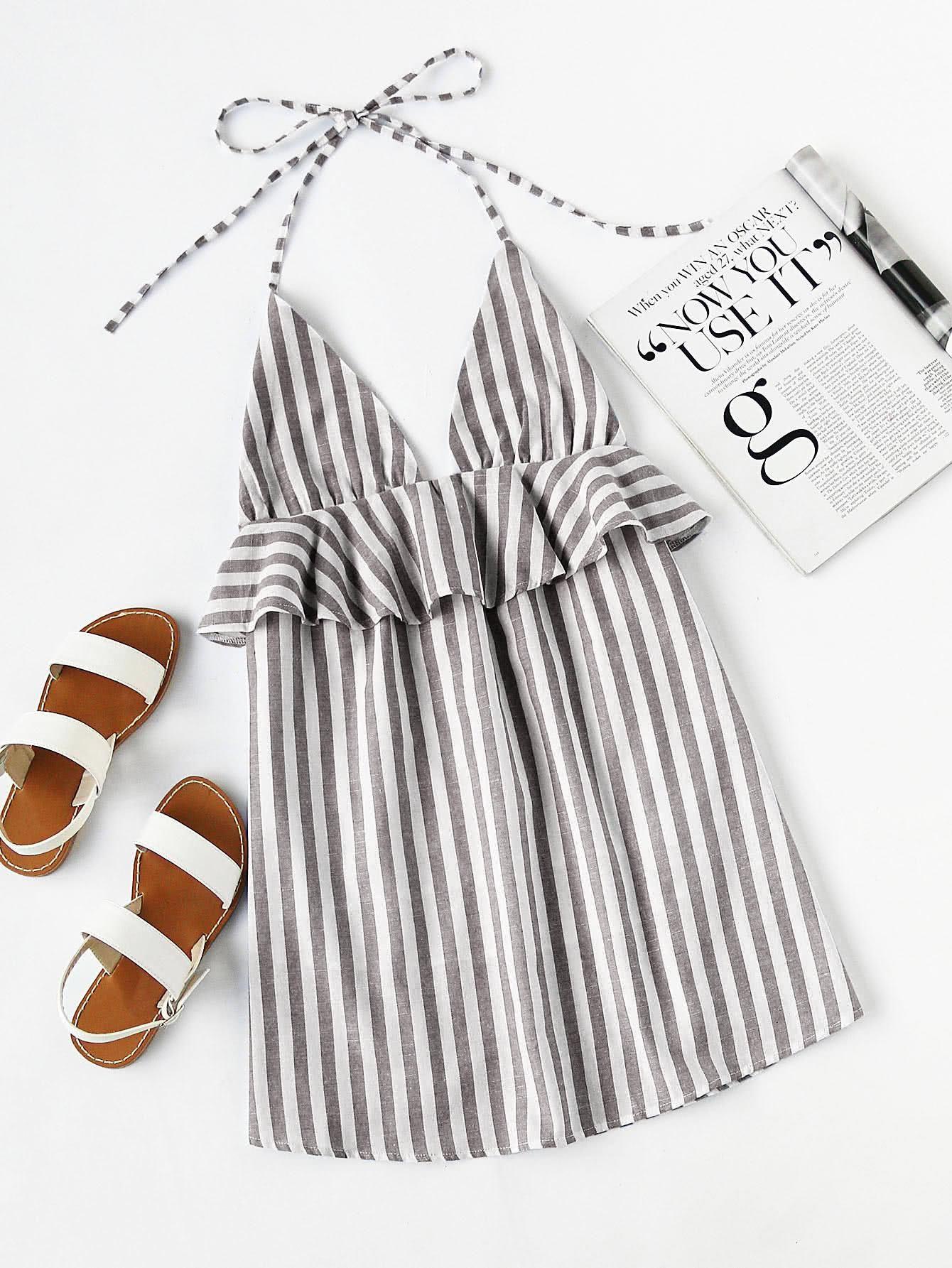 SheIn - SheIn Halter Neck Vertical Striped Frill Trim Dress ...
