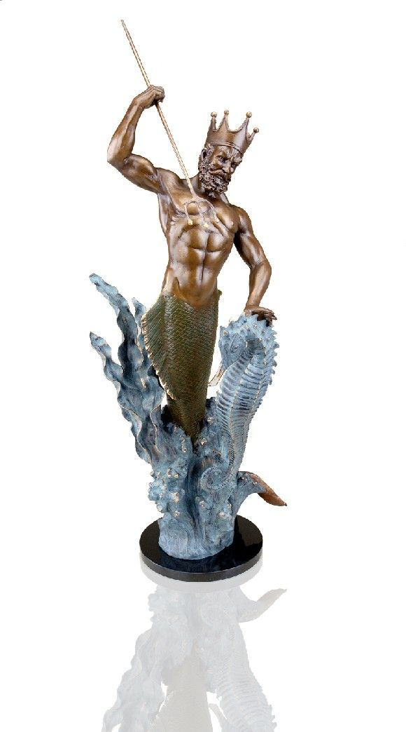spectacular bronze sculpture of mythical merman king neptune