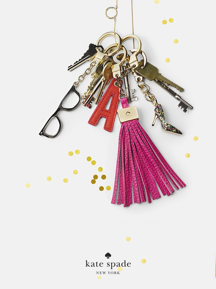 holiday gifts under $50. because she has a place for everything (except her keys). featuring charm pendant necklace, glitter shoe keychain, goreski glasses keychain, leather tassel keychain, leather a keychain. #getgifted