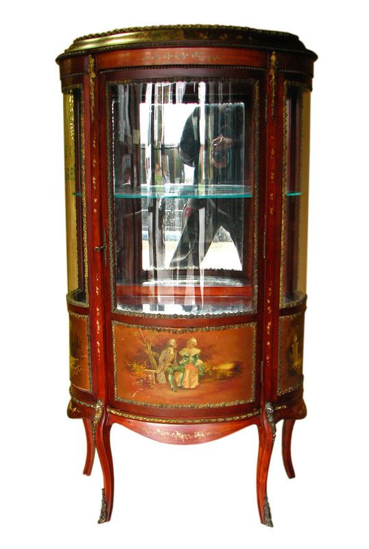 Good Antique French Curio Cabinet Hand Painted W1338