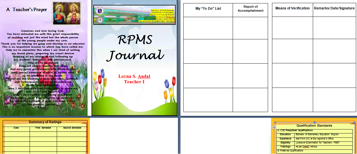 RPMS Journal Template Sample DepEd LP's Projects To