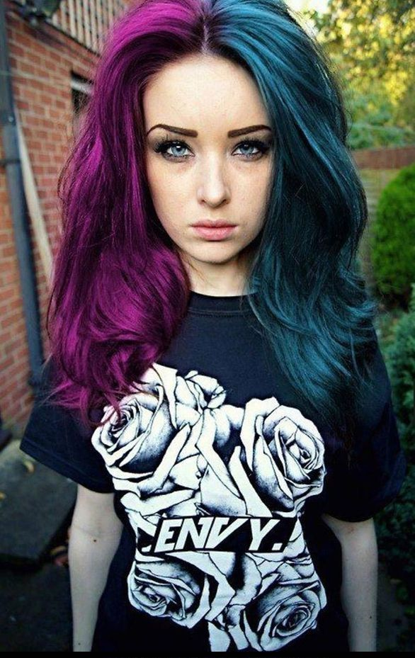 Split Dyed Hair In Dark Blue And Red Violet Hair Colors
