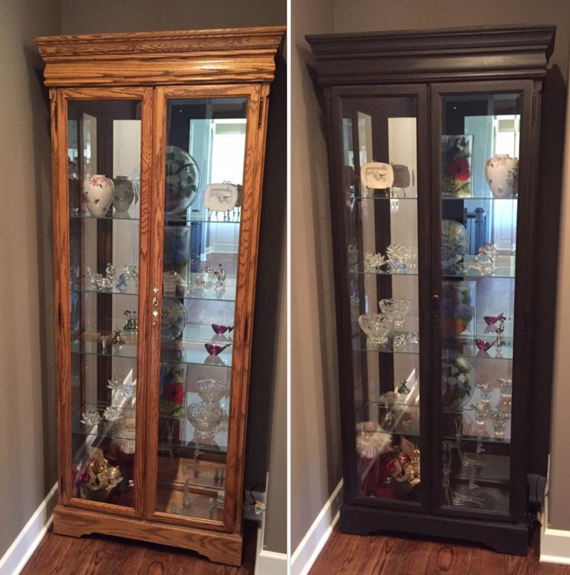 Oak Curio Cabinet Before And After Using Annie Sloan Chalk Paint In Graphite With Dark Wax N Painted Curio Cabinets Curio Cabinet Makeover Curio Cabinet Redo