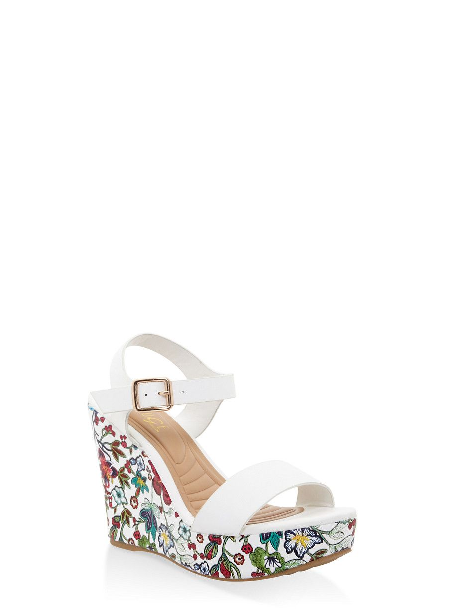 5b254ebc080 Floral Wedge Sandals - White - Size 7.5