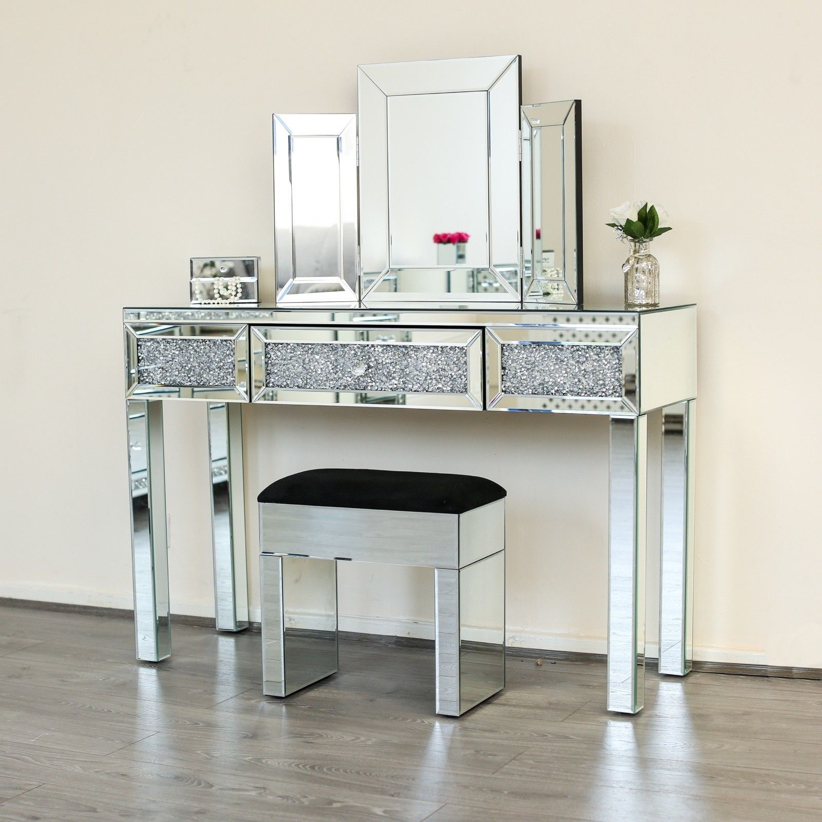 Details About Diamond Crushed Dressing Table Sparkle Glass 1