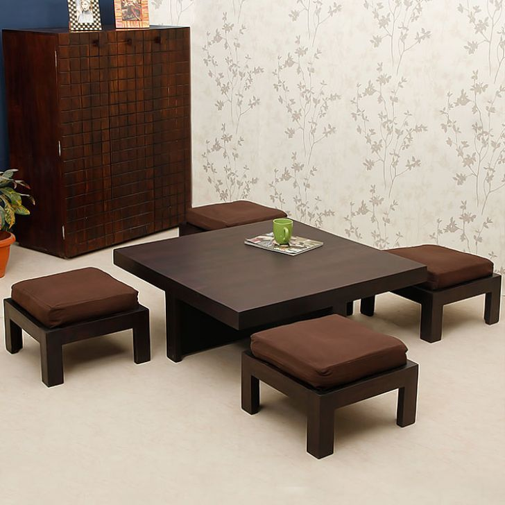 Trendz Tanner One Coffee Table With Four Stools   FabFurnish.com