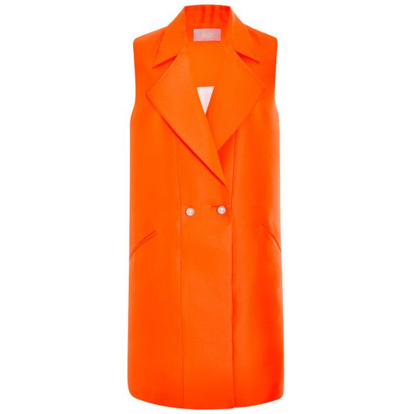Honor Neon Neoprene Vest Dress With Pearl Buttons ($1,695) ❤ liked on Polyvore featuring dresses, coats, vest, jackets, neon orange, no sleeve dress, honor dress, button front sleeveless dress, orange dress and orange sleeveless dress