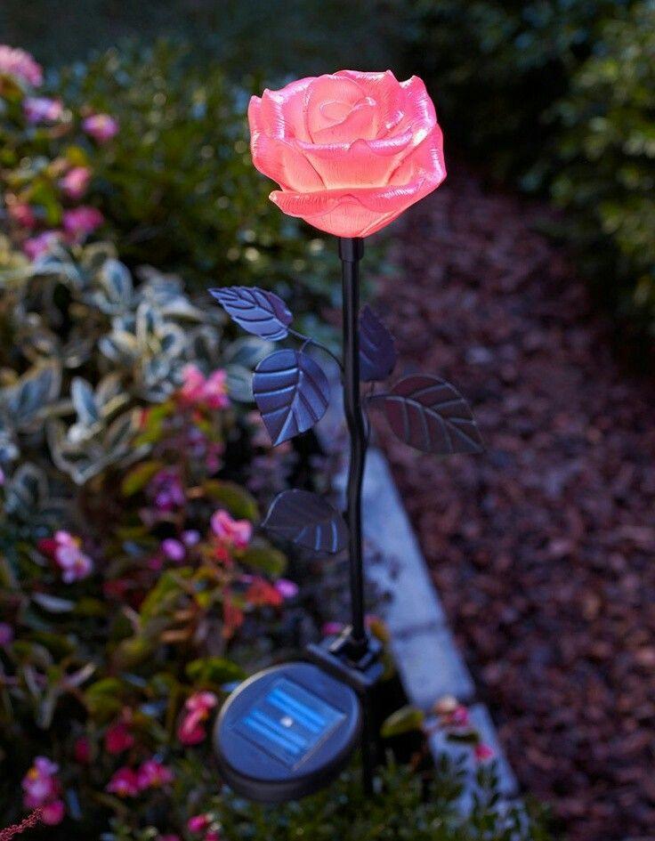 Solar Garden Ornament Bluebell Flower Blue//Pink Glass Stake Light LED Decoration