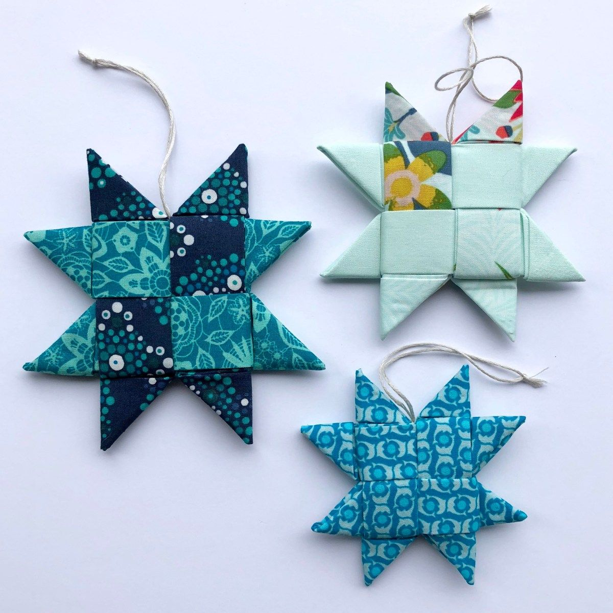 Scandinavian Folded Fabric Star Ornament W Video Tutorial Needs 4 For Each Piece In 2020 Fabric Christmas Ornaments Sewn Christmas Ornaments Folded Fabric Ornaments