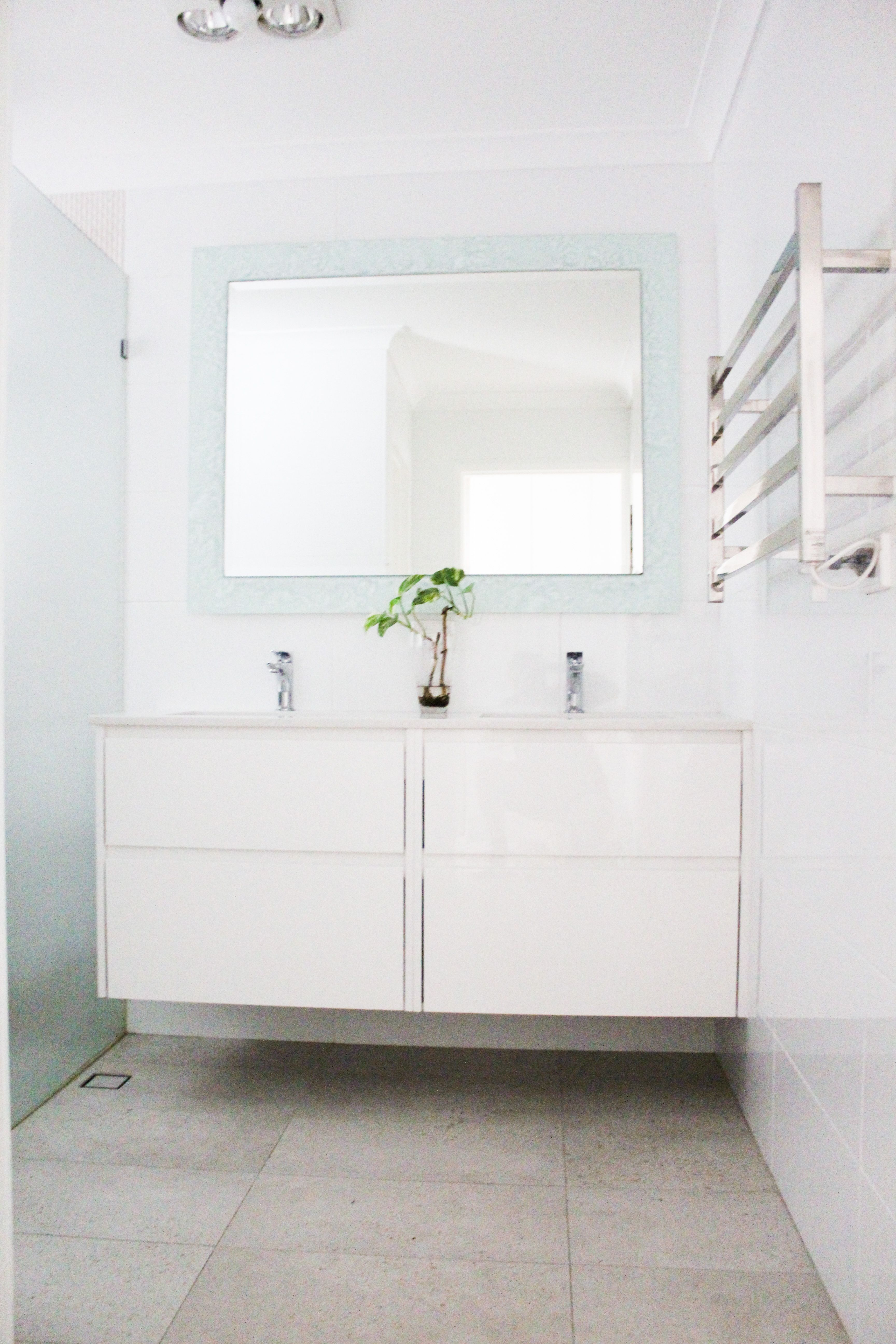 Frameless Frosted Shower Screen Wall Hung Vanity Small Family Bathroom Wet Room Set Up Grey