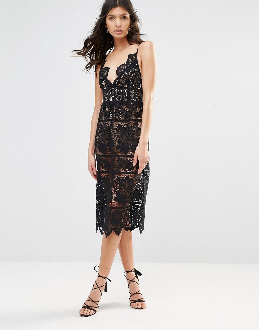 Image 4 Of For Love And Lemons Gianna Midi Dress In Black Lace Dresses Midi Dress Pretty Outfits