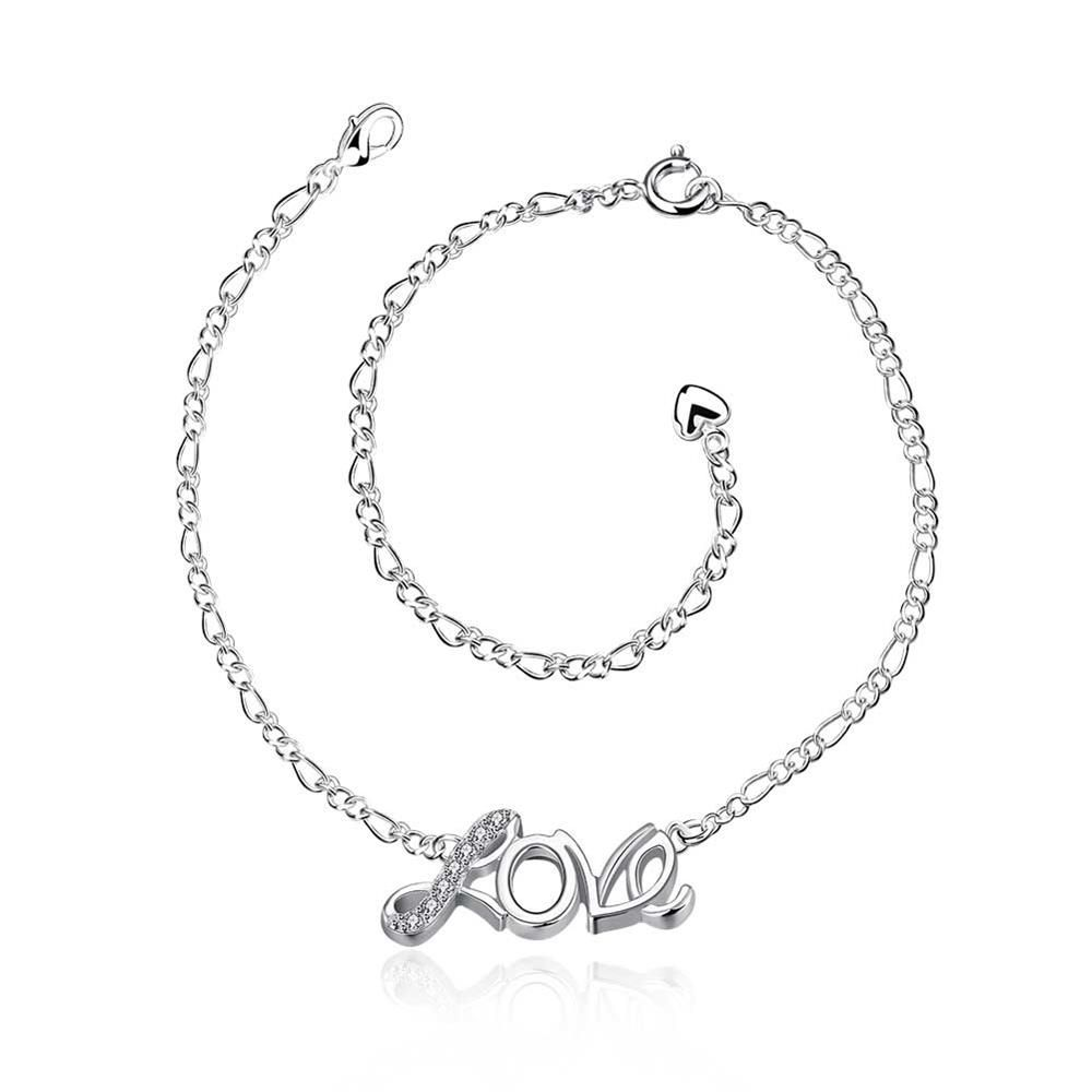 Hollow Love Heart Charm Anklet Ankle Bracelet Solid 925 Sterling Silver Chain