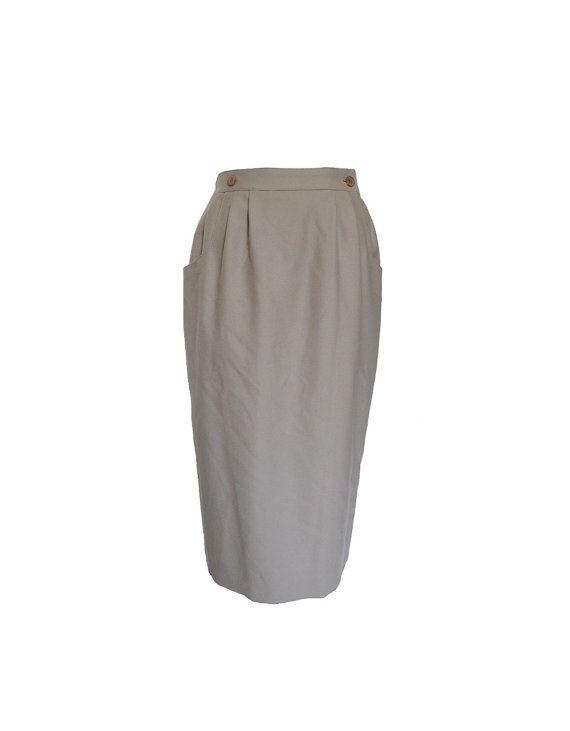 80's Grey high waist skirt / French paris secretary by havanamoon