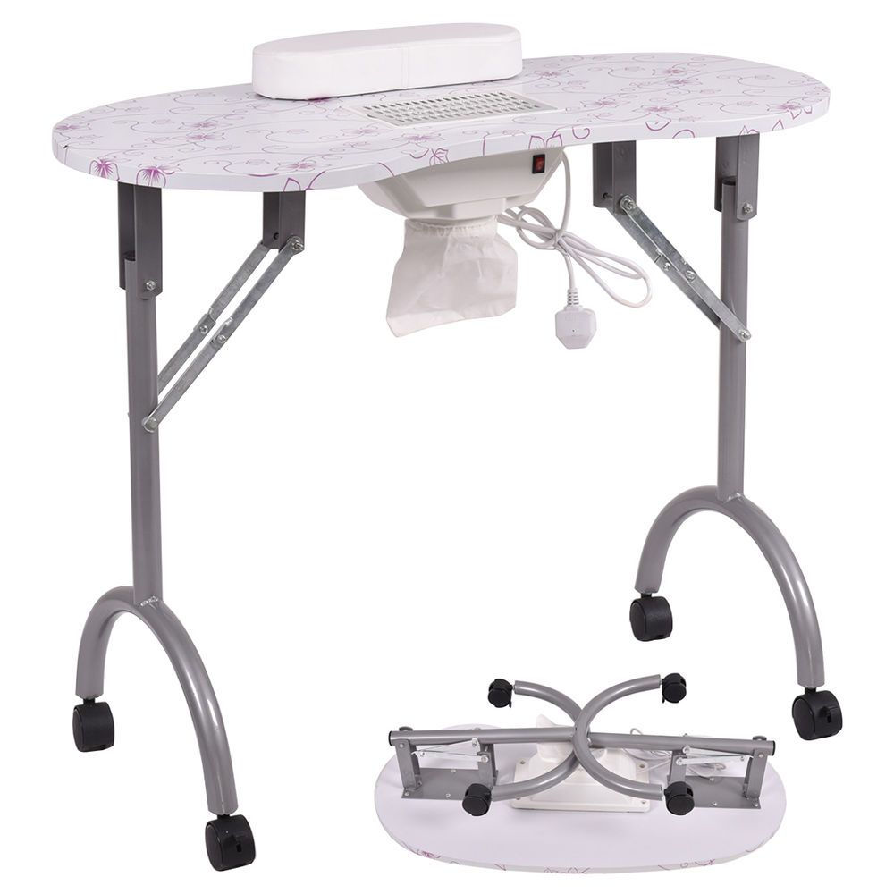 Folding Portable Vented Manicure Table Nail Desk Salon Spa With Fan Carry Bag Unbranded Manicure Table Nail Desk Portable Manicure Table