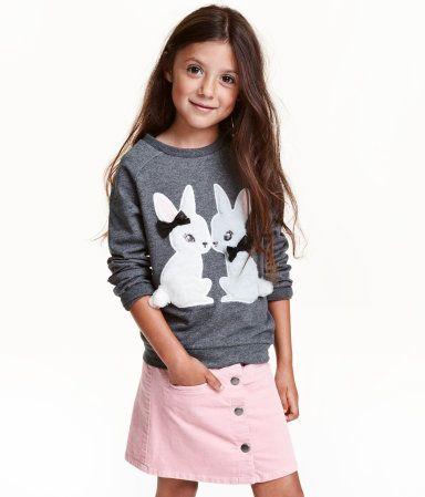 Dark gray/rabbit. Long-sleeved sweatshirt with faux fur appliqués ...
