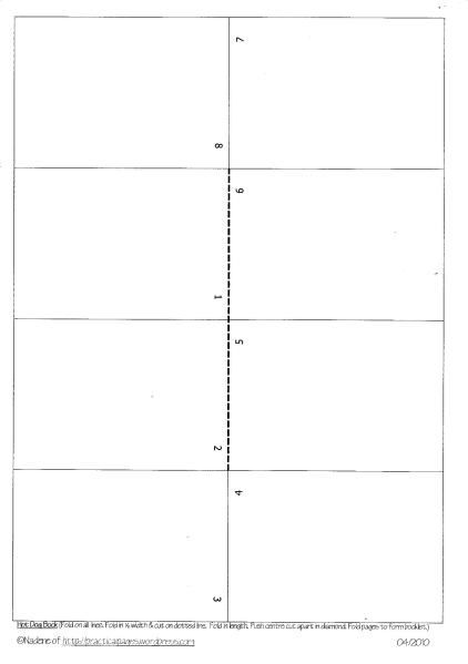 one page minibook templates handmade books template and making books